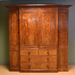 Spectacular Quality Mahogany Gillows Breakfront William IV Antique Wardrobe