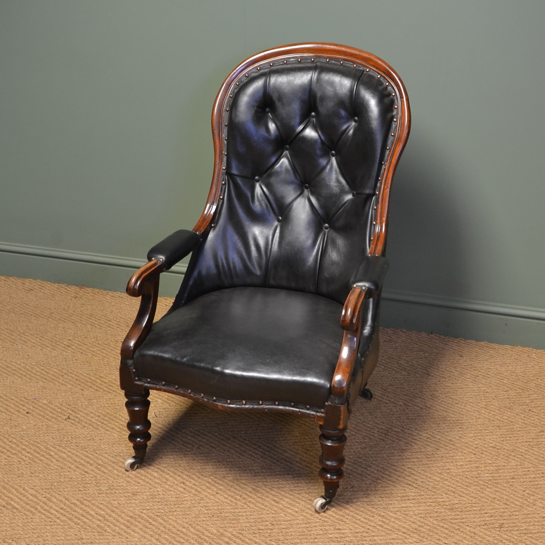 Country House Victorian Leather And Mahogany Button Back Antique Arm Chair    Antiques World
