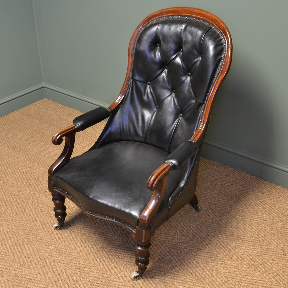 Country House Victorian Leather And Mahogany Button Back Antique Arm Chair