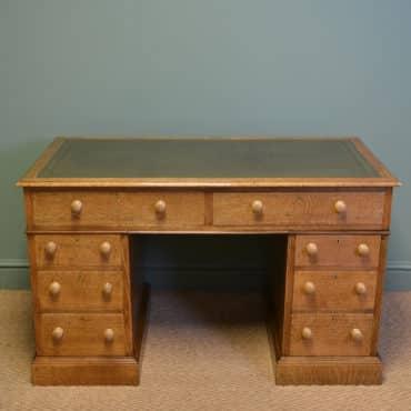 Stunning Golden Oak Edwardian Antique Pedestal Desk