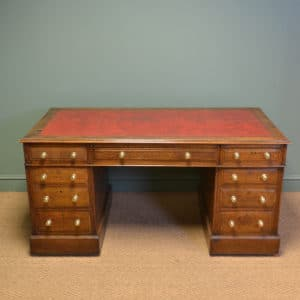 Large Victorian Country House Antique Oak Pedestal Desk