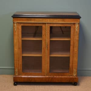 Superb Quality Victorian Figured Walnut Antique Pier Cabinet