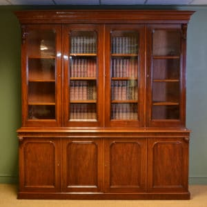 Spectacular Figured Mahogany Large Antique Victorian Library Bookcase