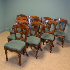 Superb Quality Set of Ten Victorian Mahogany Antique Dining Chairs by J. Reilly