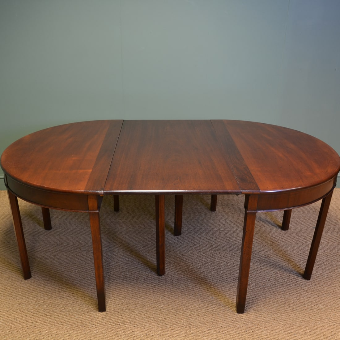 Georgian Mahogany D End Antique Dining Table