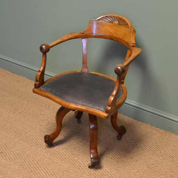 Quality Victorian Walnut Antique Swivel Desk Chair