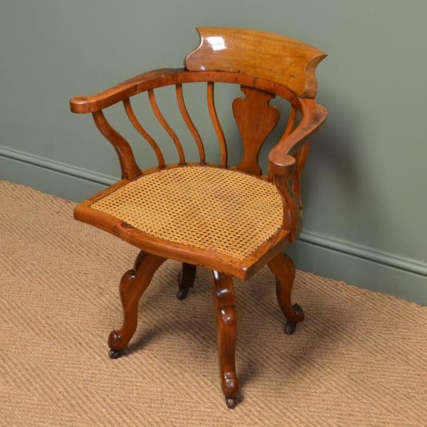 Arts & Crafts Victorian Walnut Antique Swivel Desk Chair