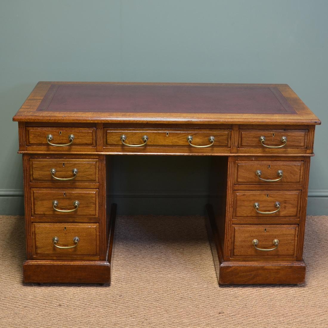 Walnut Antique Victorian Pedestal Desk by S & H Jewell of London