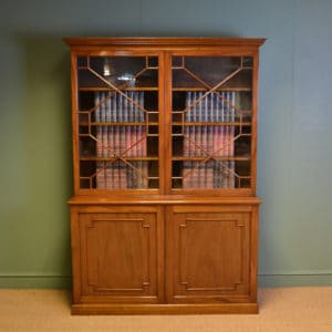 Striking Edwardian Walnut Antique Glazed Bookcase on Cupboard