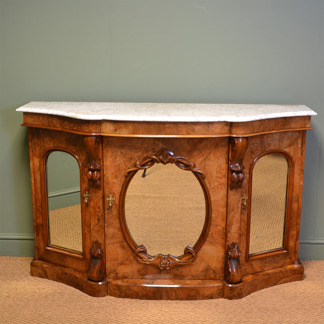 Spectacular Figured Golden Walnut Victorian Marble Topped Antique Credenza