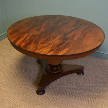 Striking William IV Figured Mahogany Circular Antique Dining Table