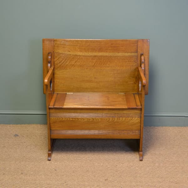 High Quality Edwardian Oak Gardner & Son Antique Bench