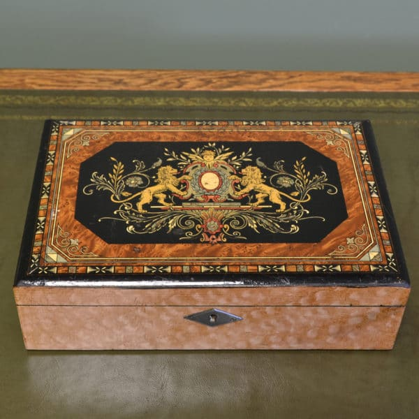 Stunning Antique Victorian Inlaid Writing Slope