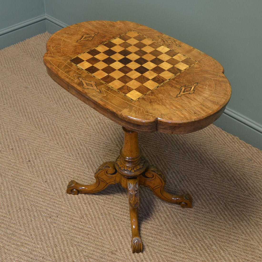 Stunning Victorian Figured Walnut Antique Games Table