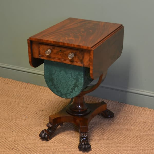 Striking William IV Figured Mahogany Antique Work Box / Sofa Table