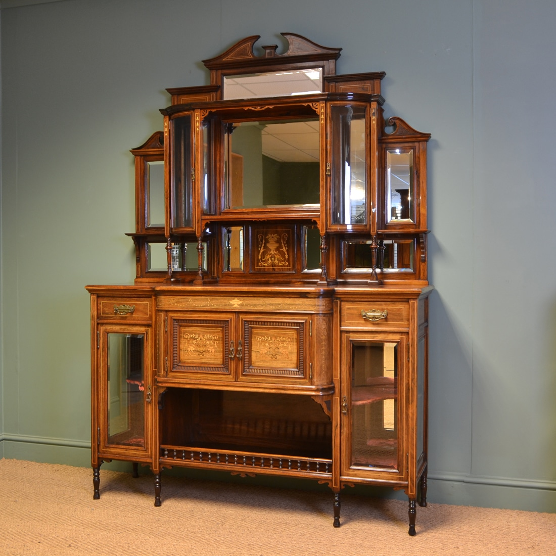 Spectacular Exhibition Quality Inlaid Rosewood Antique Victorian Display  Cabinet - Spectacular Exhibition Quality Inlaid Rosewood Antique Victorian