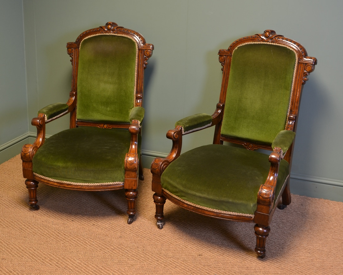 High Quality Pair Of Victorian Oak Antique Library Arm