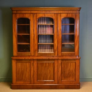 Stunning Victorian Mahogany Glazed Antique Library Bookcase on Cupboard