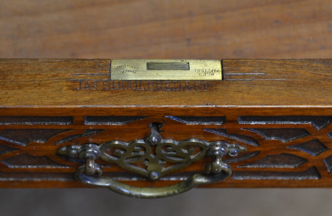 Stamp on the Desk with decorative blind fretwork carvings