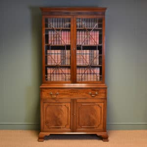 Spectacular Victorian Mahogany Antique Glazed Bookcase on Cupboard