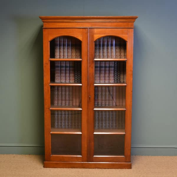 Unusual Antique Teak Victorian Glazed Bookcase / Cupboard