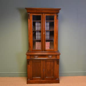 Striking Small Glazed Figured Walnut Antique Victorian Bookcase on Cupboard