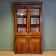 Spectacular Quality Arts & Crafts Victorian Walnut Glazed Bookcase on Cupboard