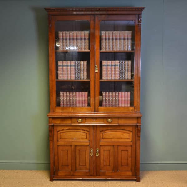 Spectacular Quality Arts & Crafts Victorian Walnut Glazed Bookcase on Cupboard