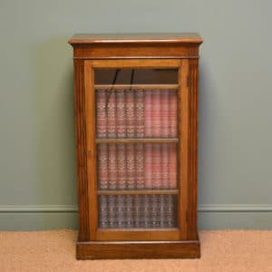 Small Edwardian Glazed Oak Antique Bookcase