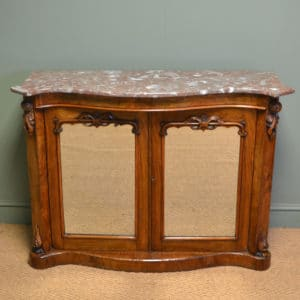 Victorian Walnut Serpentine Front Marble Topped Antique Credenza