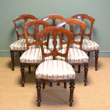 High Quality Victorian Mahogany Set of Six Antique Dining Chairs