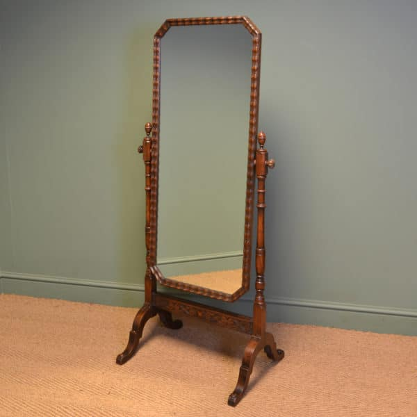 Stunning Waring & Gillows Edwardian Oak Antique Cheval Mirror
