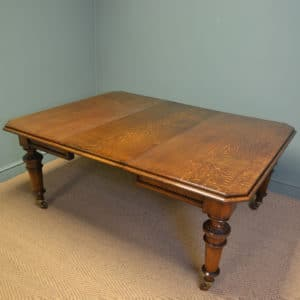 Solid Oak Victorian Extending Wind Out Dining Table By Richardson Leeds