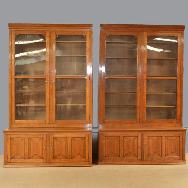 Huge Oak Victorian Pair of Antique Library Bookcases