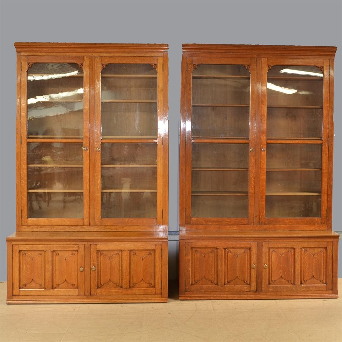 Furniture Restoration Near Me Uk: Huge Oak Victorian Pair Of Antique Library Bookcases