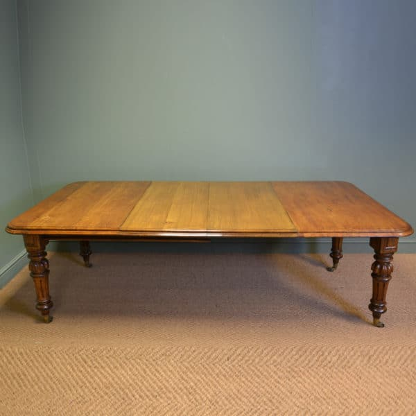 Large Country House Light Oak Antique Victorian Wind Out Extending Dining Table