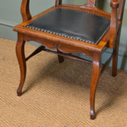 Unusual Set of Six Edwardian Oak Arts & Crafts Antique Dining Chairs