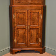 Unusual Edwardian Figured Walnut Antique Floor Standing Corner Cupboard