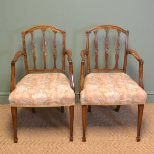 Elegant Pair of Edwardian Walnut Hepplewhite Design Antique Carver Chairs
