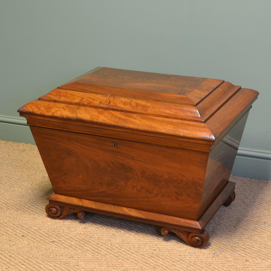 Rare Regency Figured Mahogany Large Antique Cellaret / Wine Box