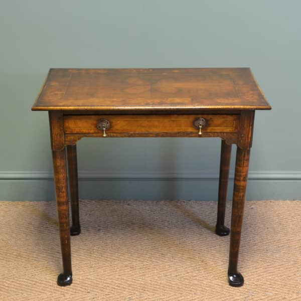 Unusual 18th Century Quarter Veneered Antique Walnut Low Boy / Side Table