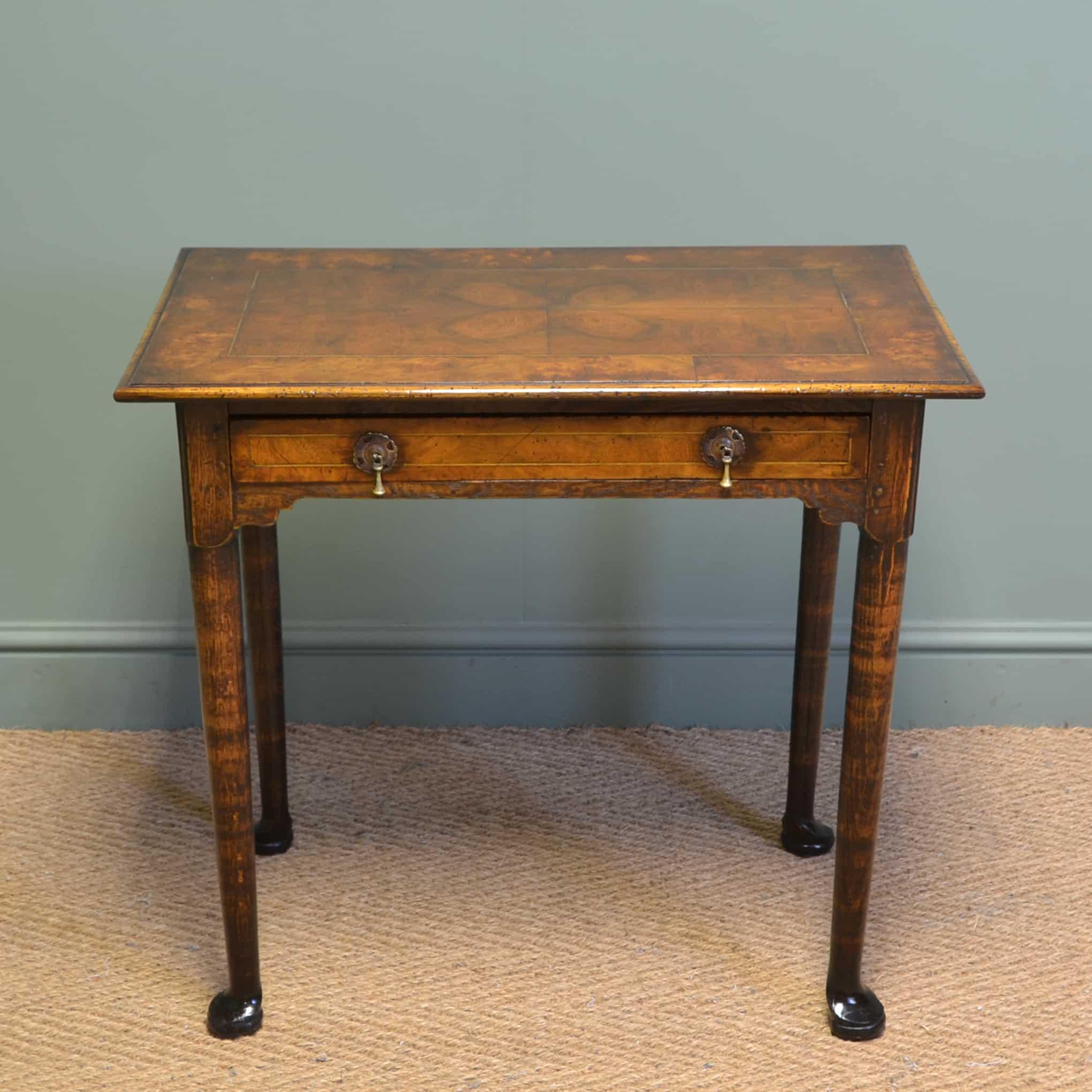 Unusual 18th Century Quarter Veneered Antique Walnut Low Boy / Side Table