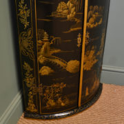 Unusual Bow Fronted Wall Hanging Antique Chinoiserie Corner Cupboard