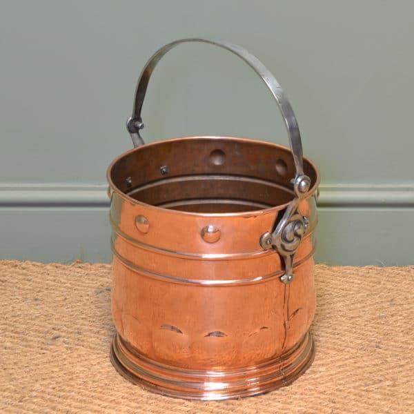 Unusual Arts & Crafts Copper Antique Coal Bucket