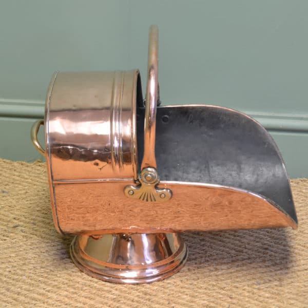 Unusual Copper Decorative Victorian Antique Coal Bucket