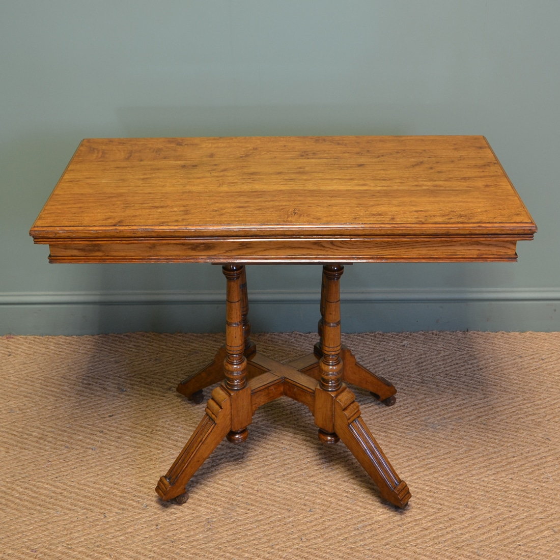 Spectacular Golden Oak Arts Crafts Antique Card Table Antiques World