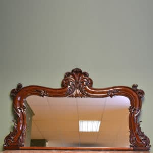 Small Elegant Victorian Antique Mahogany Scrolled Carved Over-Mantle Mirror