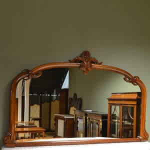 Large Victorian Walnut Antique Over-Mantle Mirror
