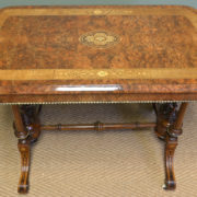 Striking Figured Walnut Victorian Inlaid Antique Centre / Side Table