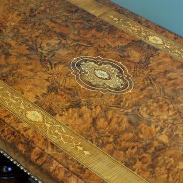 Striking Figured Walnut Victorian Inlaid Antique Centre / Side Table